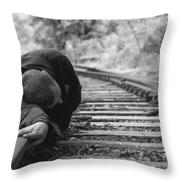 Waiting On The Rails Throw Pillow