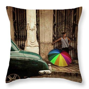 Waiting Out The Rain In Havana Cuba Throw Pillow