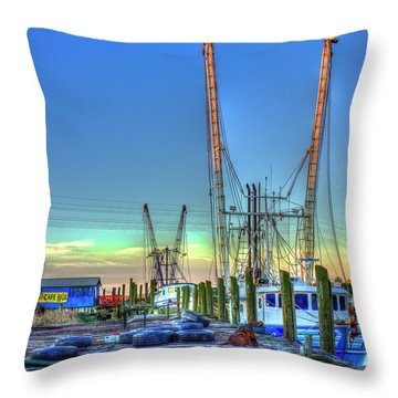 Throw Pillow featuring the photograph Waiting Shrimp Boats Wilmington River Tybee Island Georgia Art by Reid Callaway