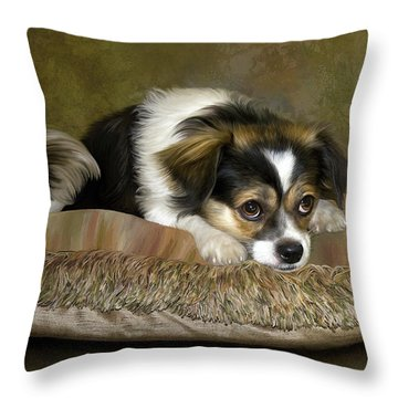 Waiting Throw Pillow by Thanh Thuy Nguyen