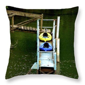 Waiting To Kayak Throw Pillow