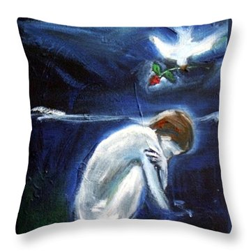 Throw Pillow featuring the painting Waiting by Winsome Gunning