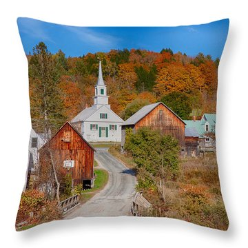 Waits River Church In Autumn Throw Pillow