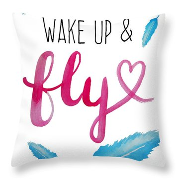 Wake Up And Fly Watercolor Throw Pillow