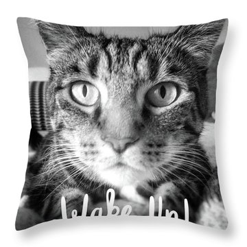 Wake Up It's Your Birthday Cat- Art By Linda Woods Throw Pillow