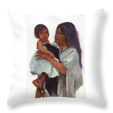 Wakin Up Sacajawea And Pomp Throw Pillow