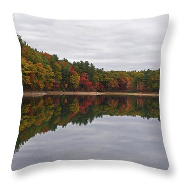 Walden Pond Fall Foliage Concord Ma Reflection Trees Throw Pillow