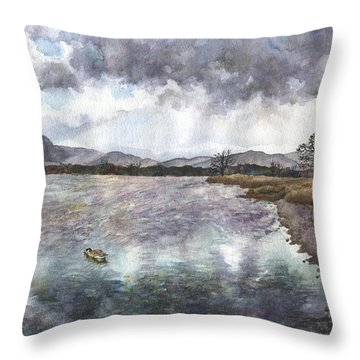 Throw Pillow featuring the painting Walden Ponds On An April Evening by Anne Gifford