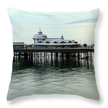 Throw Pillow featuring the photograph Wales Boardwalk by Joan  Minchak