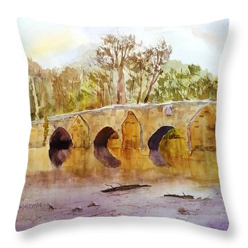 Wales Dipping Bridge Throw Pillow