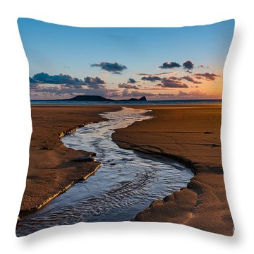 Wales Gower Coast Throw Pillow