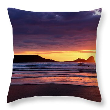 Wales Gower Coast Helvetia Throw Pillow