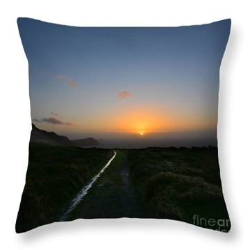 Walk Along The Coast At Eary Cushlin Throw Pillow