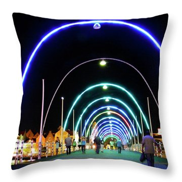 Throw Pillow featuring the photograph Walk Along The Floating Bridge, Willemstad, Curacao by Kurt Van Wagner
