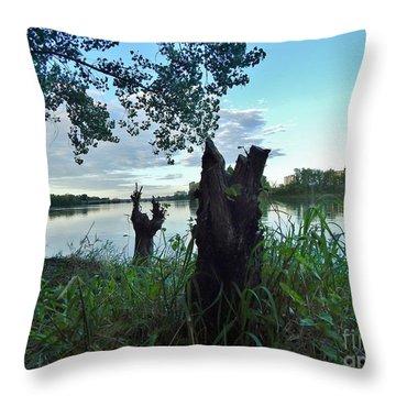 Walk Along The River In Verdun Throw Pillow