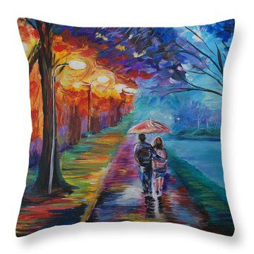 Throw Pillow featuring the painting Walk By The Lake Series 1 by Leslie Allen