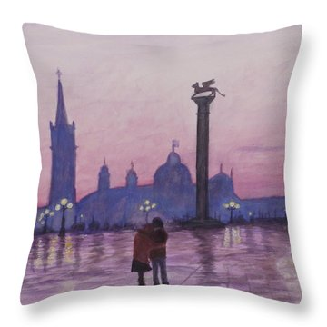 Walk In Italy In The Rain Throw Pillow
