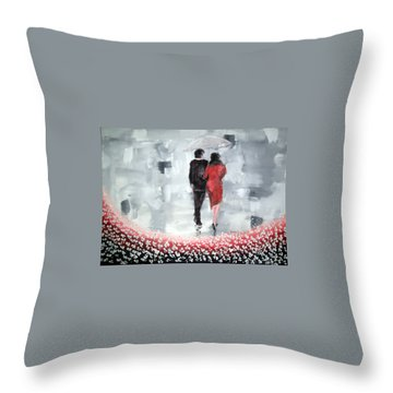 Walk In The Garden Throw Pillow by Raymond Doward