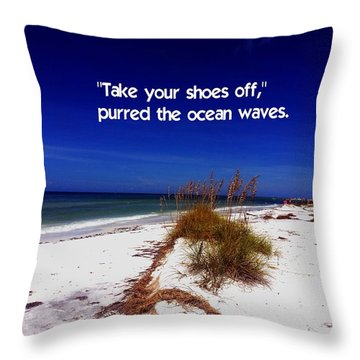 Walk In The Sand Throw Pillow by Gary Wonning