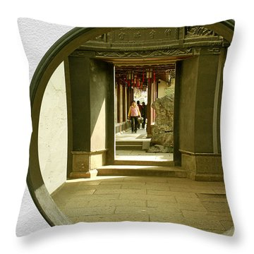 Walk Into The Light - Yuyuan Garden Shanghai China Throw Pillow by Christine Till