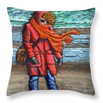 Walk On Beach Throw Pillow