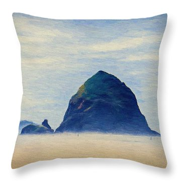 Throw Pillow featuring the painting Walk On The Beach by Jeff Kolker