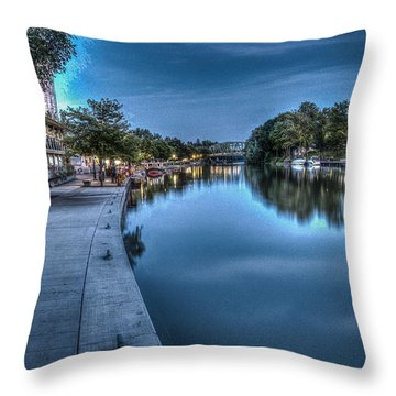 Walk On The Canal Throw Pillow