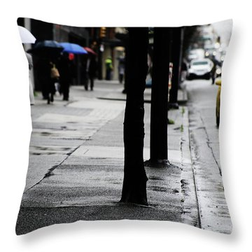 Walk Or Cab Throw Pillow by Empty Wall