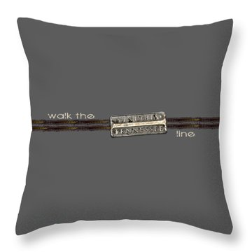 Throw Pillow featuring the photograph Walk The Line Light Lettering by Heather Applegate