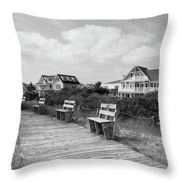 Walk Through The Dunes In Black And White Throw Pillow