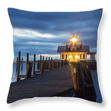 Walk To Roanoke Marshes Lighthouse Throw Pillow