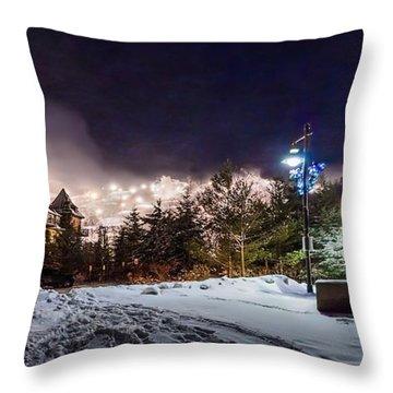 Walk To The Ski Hills Throw Pillow