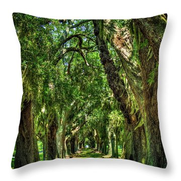 Throw Pillow featuring the photograph Walk With Me Avenue Of Oaks St Simons Island Art by Reid Callaway
