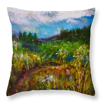 Throw Pillow featuring the painting Walk With Me by Claire Bull