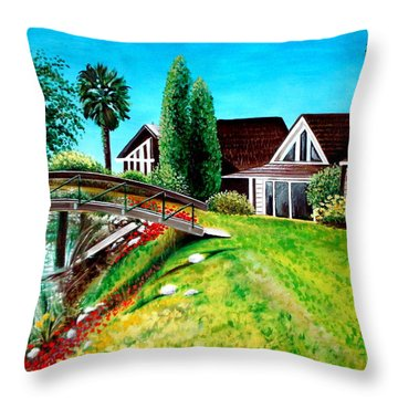 Throw Pillow featuring the painting Walk With Me by Elizabeth Robinette Tyndall