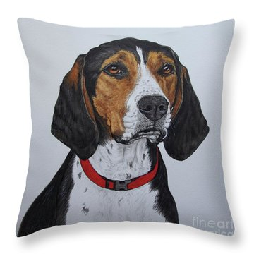 Walker Coonhound - Cooper Throw Pillow by Megan Cohen