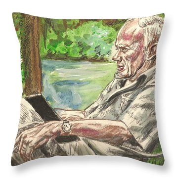 Walker Percy At The Lake Throw Pillow
