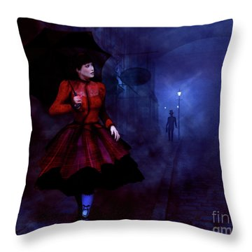 Throw Pillow featuring the digital art Walking After Midnight by Methune Hively