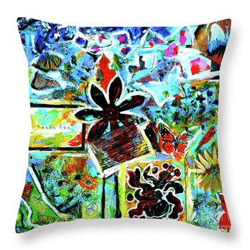 Throw Pillow featuring the mixed media Walking Amongst The Monarchs by Genevieve Esson