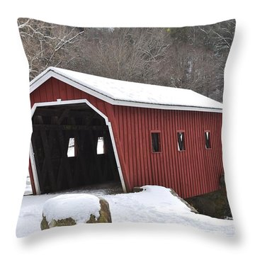 Walking Bridge At Kent Falls State Park 1 Throw Pillow