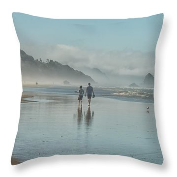 Walking Cannon Beach Throw Pillow