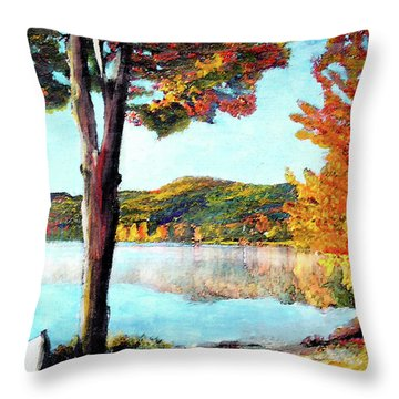 A Walk Down Lake Champlain Throw Pillow