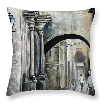 Walking Down The Street Throw Pillow