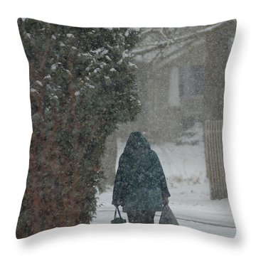 Walking Home In The Snow Throw Pillow