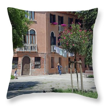 Walking In A Quiet Neighborhood On Murano Throw Pillow