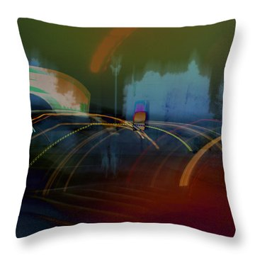 Walking In Carnival Lights Throw Pillow