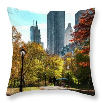 Walking In Central Park Throw Pillow