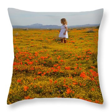 Walking In Poppies Throw Pillow