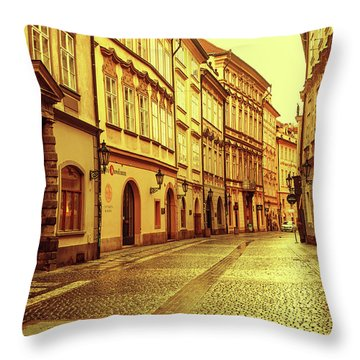 Throw Pillow featuring the photograph Walking In Prague. Series Golden Prague by Jenny Rainbow