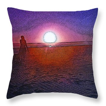 Walking In The Glow Throw Pillow